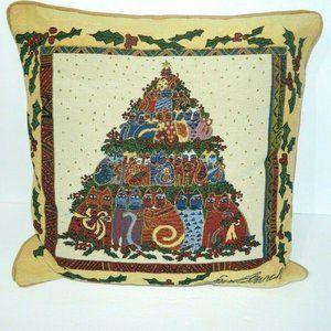 Laurel Burch Cat Christmas Tree Throw Pillow
